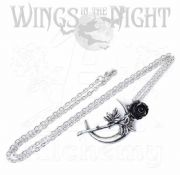 ALCHEMY GOTHIC New Romance Moon & Rose Pendant Necklace | Gothic Jewellery